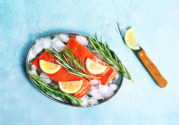Salmone greggio limone tavola sfondo ristorante Foto d'archivio © tycoon