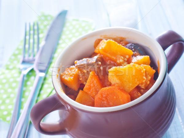 Sült hús zöldségek vacsora tányér főzés Stock fotó © tycoon