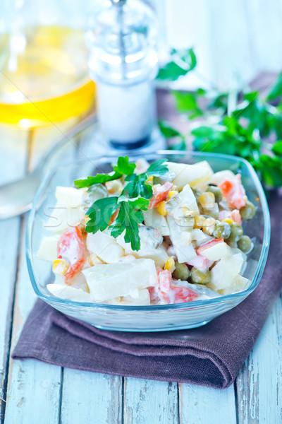Сток-фото: Салат · морепродуктов · чаши · таблице · весны · овощей