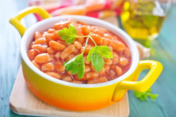 Stockfoto: Bonen · tomatensaus · voedsel · plaat · tomaat · lunch