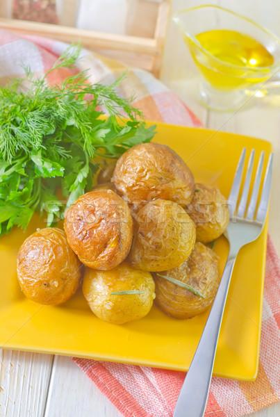 Sült krumpli otthon vacsora tányér kagyló Stock fotó © tycoon