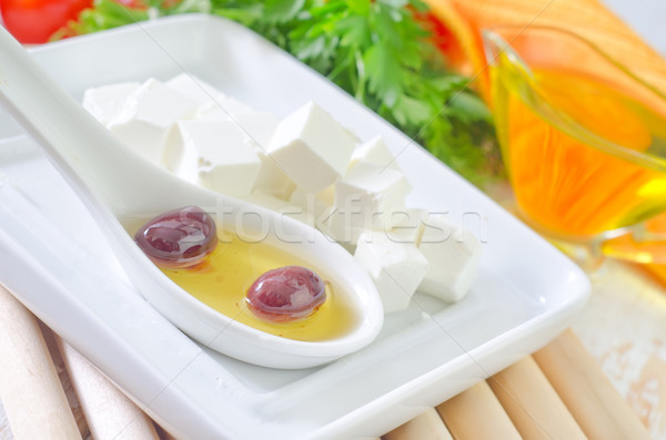 Fetasajt gyümölcs üveg olaj tányér reggeli Stock fotó © tycoon