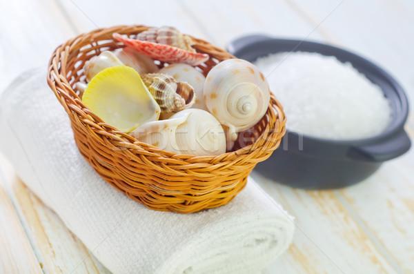 Conchas sal marina fuego hoja medicina relajarse Foto stock © tycoon