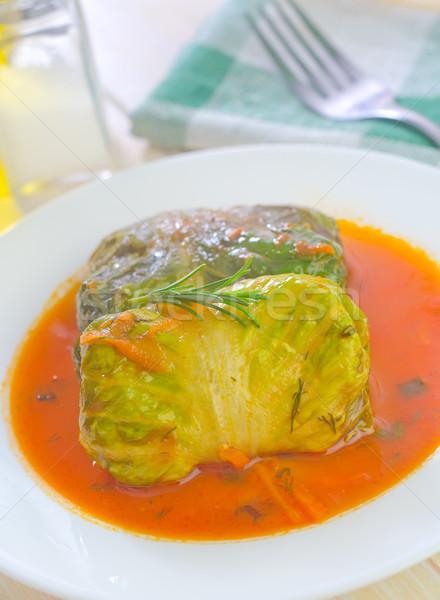 Zöld vacsora hús eszik paradicsom fehér Stock fotó © tycoon