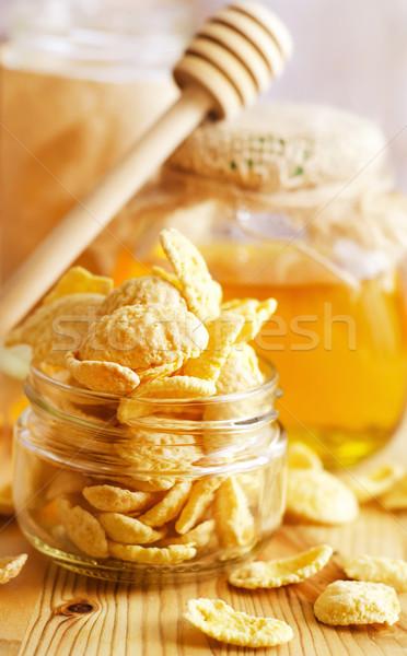 Stockfoto: Cornflakes · voedsel · licht · home · glas · achtergrond