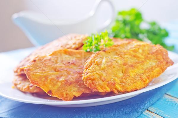 Pannenkoeken aardappel keuken diner plaat vork Stockfoto © tycoon