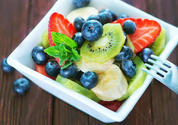 フルーツサラダ 新鮮果物 サラダ 白 ボウル 葉 ストックフォト © tycoon