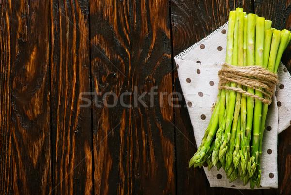 Espargos verde mesa de madeira fresco primavera Foto stock © tycoon