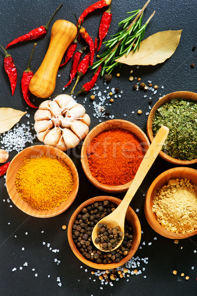 Aroma Spice spezie legno ciotola tavola Foto d'archivio © tycoon