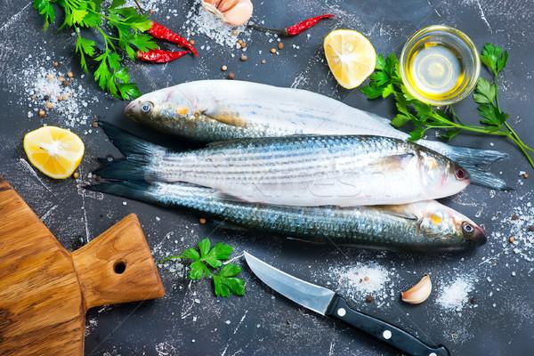 Ryb surowy przyprawy tabeli żywności Zdjęcia stock © tycoon