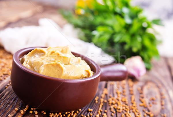 Mustár tál asztal fa természet háttér Stock fotó © tycoon