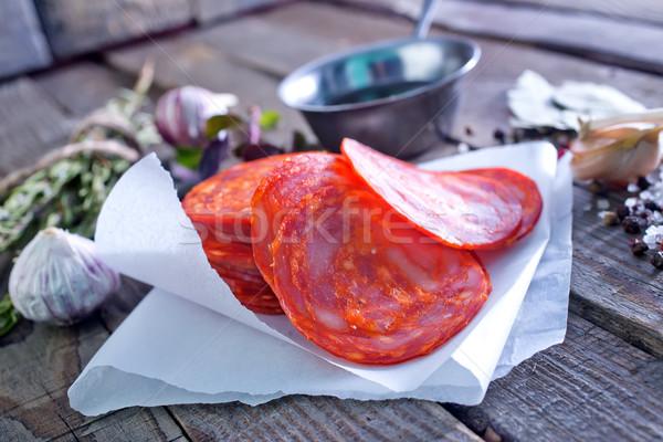 чоризо аромат Spice бумаги таблице обеда Сток-фото © tycoon