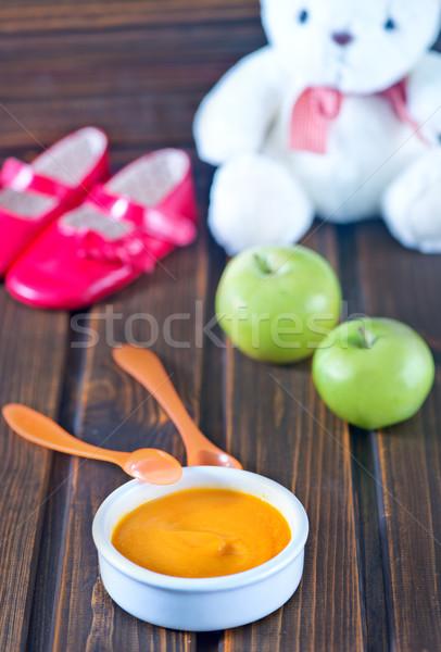 Alimentos para bebês tigela tabela fundo jantar café da manhã Foto stock © tycoon