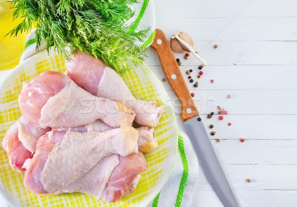 Pollo gambe alimentare cucina cena bordo Foto d'archivio © tycoon