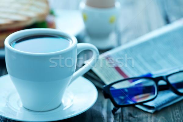 朝食 コーヒー フライド 卵 プレート 紙 ストックフォト © tycoon