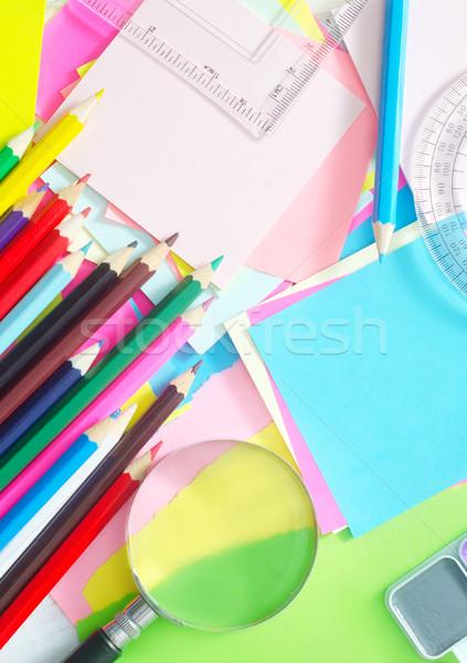 Tanszerek iskola szín minta jegyzet ír Stock fotó © tycoon