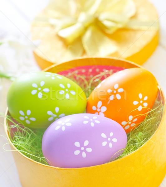 Húsvéti tojások citromsárga doboz húsvét tavasz természet Stock fotó © tycoon