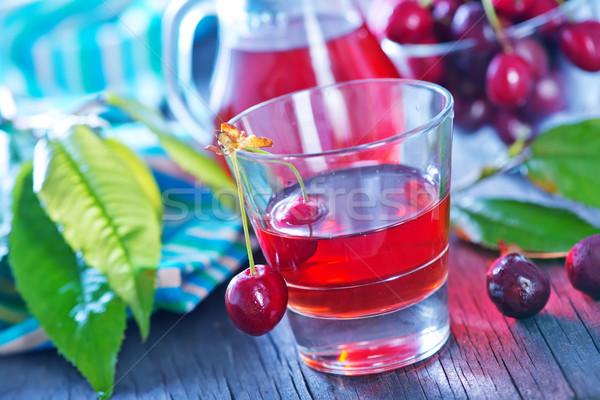 Cseresznye dzsúz bogyók friss fa asztal étel Stock fotó © tycoon