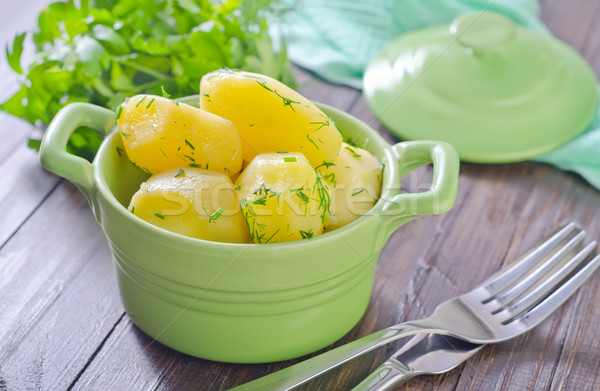 boiled potato in green bowl Stock photo © tycoon