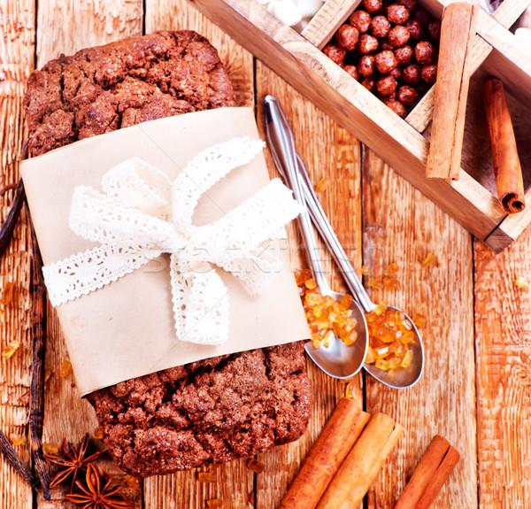 Bolo de chocolate tempero tabela comida festa fundo Foto stock © tycoon