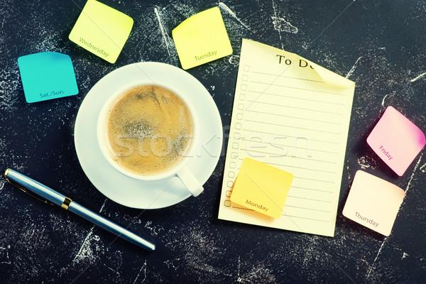 Kahve kahve fincanı iş dizayn çikolata kalem Stok fotoğraf © tycoon