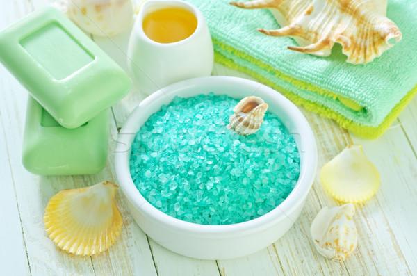 Deniz tuzu ahşap vücut yeşil masaj banyo Stok fotoğraf © tycoon