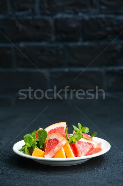 Pomelo frescos placa mesa alimentos naturaleza Foto stock © tycoon