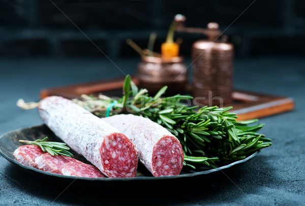 Salame tempero conselho comida fundo Foto stock © tycoon