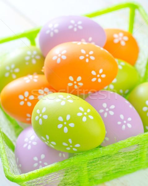 Húsvéti tojások húsvét tavasz háttér doboz űr Stock fotó © tycoon