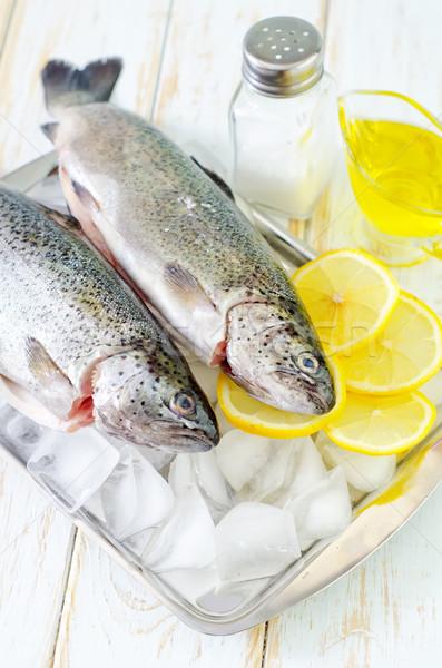 Balık gıda buz pazar limon Stok fotoğraf © tycoon
