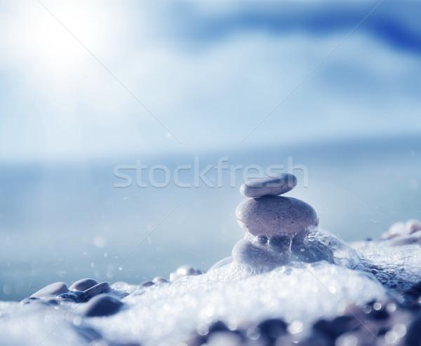 Kövek tengerpart égbolt textúra absztrakt természet Stock fotó © tycoon
