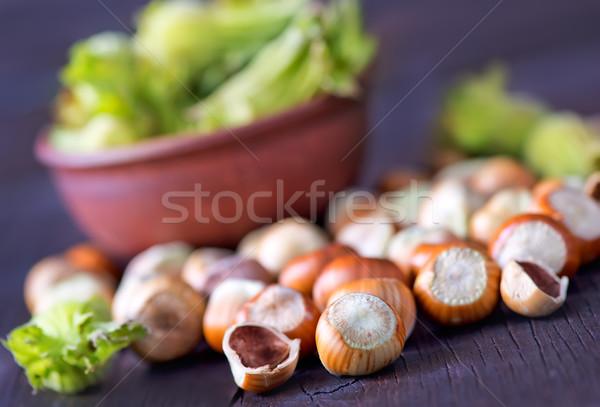 Mogyoró friss tál asztal egészség háttér Stock fotó © tycoon