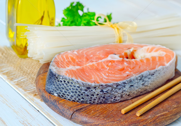 Somon gıda balık deniz yeşil akşam yemeği Stok fotoğraf © tycoon