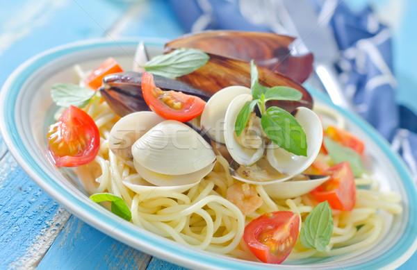 пасты морепродуктов ресторан пластина черный вилка Сток-фото © tycoon