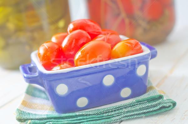 Tomate vidrio rojo vegetales ajo saludable Foto stock © tycoon