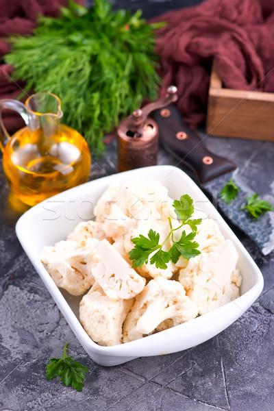 сырой цветная капуста чаши таблице продовольствие здоровья Сток-фото © tycoon