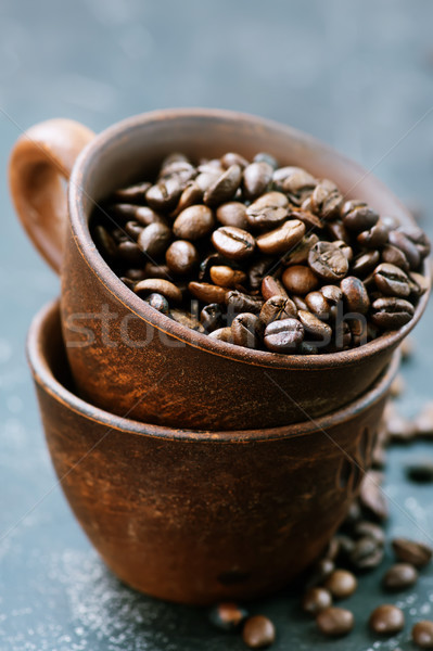 Grains de café tasse table texture résumé fond Photo stock © tycoon