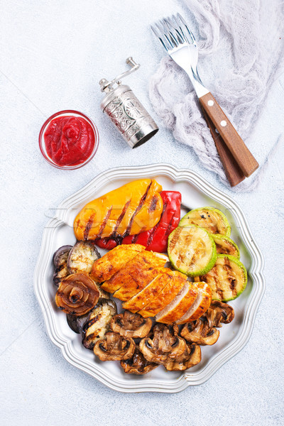 chicken barbecue and grilled vegetables Stock photo © tycoon