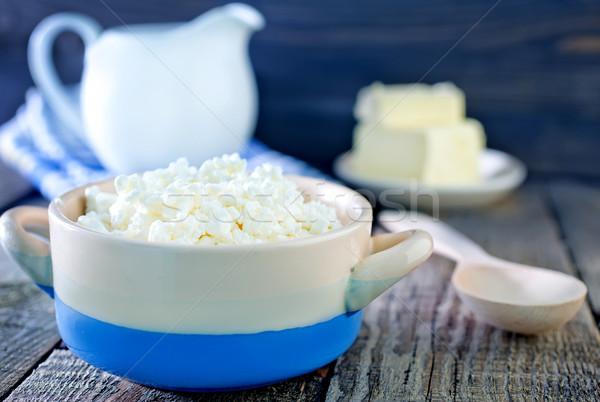 Süzme peynir çanak tablo çiçek ahşap sağlık Stok fotoğraf © tycoon