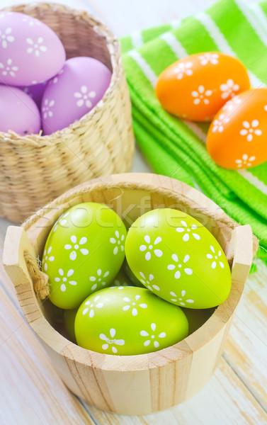 Primavera flores de primavera mesa de madera Pascua alimentos pintura Foto stock © tycoon
