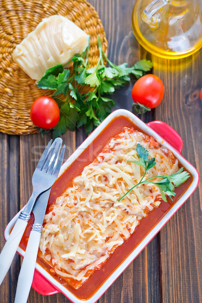 Lasagne hús sajt tál étel háttér Stock fotó © tycoon