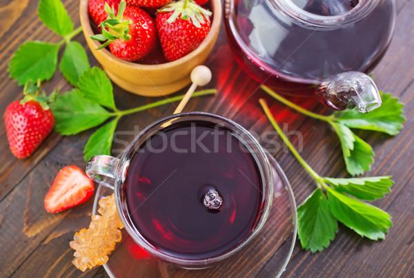 Stock fotó: Eper · tea · teáscsésze · asztal · gyümölcs · egészség