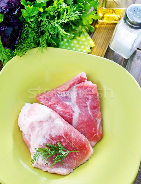 Ruw vlees groene witte boord peper Stockfoto © tycoon
