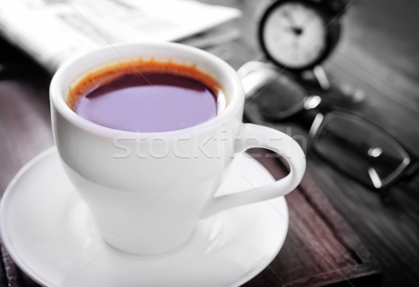 Koffie krant achtergrond nieuws financieren communicatie Stockfoto © tycoon