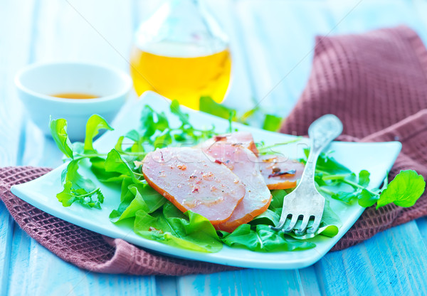 копченый мяса Салат белый пластина таблице Сток-фото © tycoon