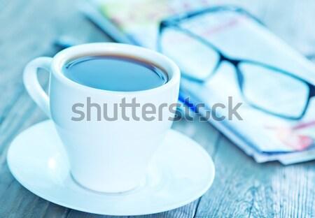 Kahve kahve fincanı tablo kâğıt eğitim gözlük Stok fotoğraf © tycoon