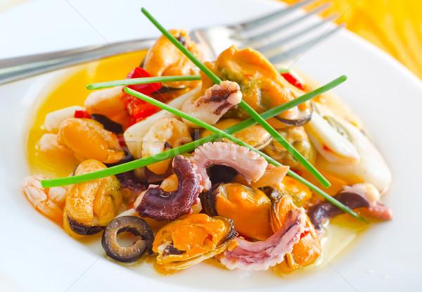 Салат морепродуктов рыбы морем здоровья ресторан Сток-фото © tycoon