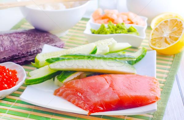 Photo stock: Ingrédients · sushis · poissons · dîner · rouge · plaque