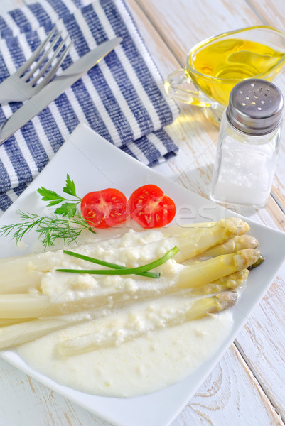 Spárga tavasz konyha tányér villa szakács Stock fotó © tycoon