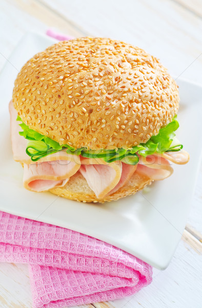 Sandwich voedsel hout brood tomaat witte Stockfoto © tycoon